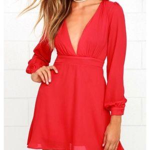 Lulus Red Deep V Chiffon Dress Long Sleeve Size S